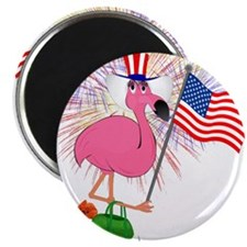 "Funny 4th of July Flamingo 2.25"" Magnet (10 pack)"