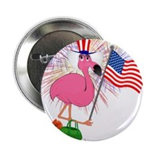 """Funny 4th of July Flamingo 2.25"""" Button (100 pack)"""