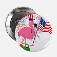 "Funny 4th of July Flamingo 2.25"" Button (100 pack)"