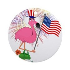 Funny 4th of July Flamingo Ornament (Round)