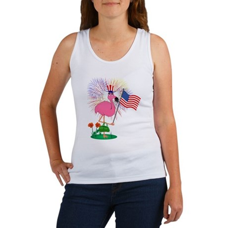 Funny 4th of July Flamingo Women's Tank Top