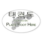 Sticker (Oval 10 pk) Tae Kwon Do Place Foot Here