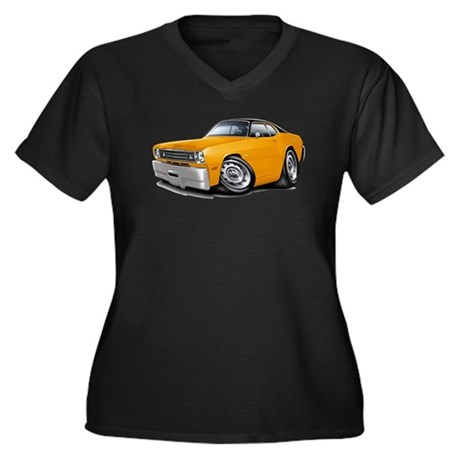 Duster Orange-Black Car Women's Plus Size V-Neck D