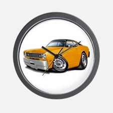 Duster Orange-Black Car Wall Clock