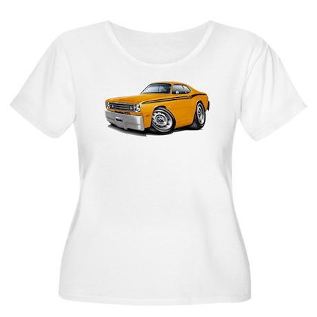 Duster Orange-Black Car Women's Plus Size Scoop Ne