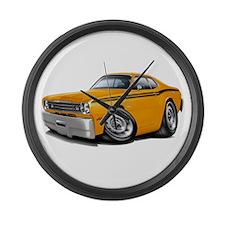 Duster Orange-Black Car Large Wall Clock