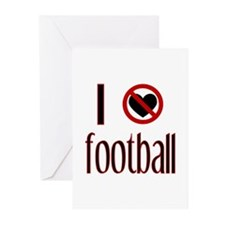 I Do Not Love / Heart Footbal Greeting Cards (Pack