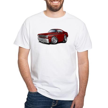 Duster Maroon-Black Car White T-Shirt