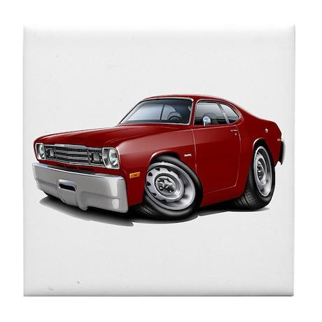 Duster Maroon-Black Car Tile Coaster