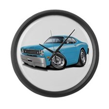 Duster Lt Blue-White Car Large Wall Clock