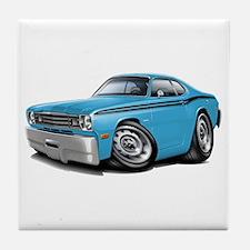Duster Lt Blue-Black Car Tile Coaster