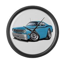 Duster Lt Blue-Black Car Large Wall Clock