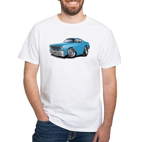 Duster Lt Blue-Black Car White T-Shirt