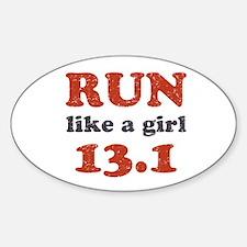 Run like a girl 13.1 Sticker (Oval)