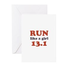 Run like a girl 13.1 Greeting Cards (Pk of 20)
