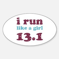 i run like a girl 13.1 Sticker (Oval)