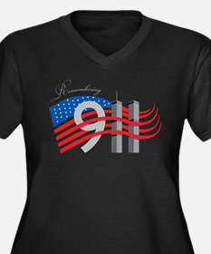 Remembering 911 Women's Plus Size V-Neck Dark T-Sh