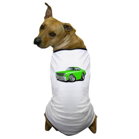 1970-74 Duster Lime-White Car Dog T-Shirt