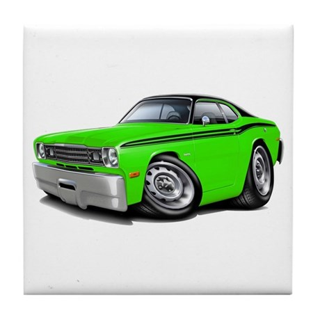 Duster Lime-Black Car Tile Coaster