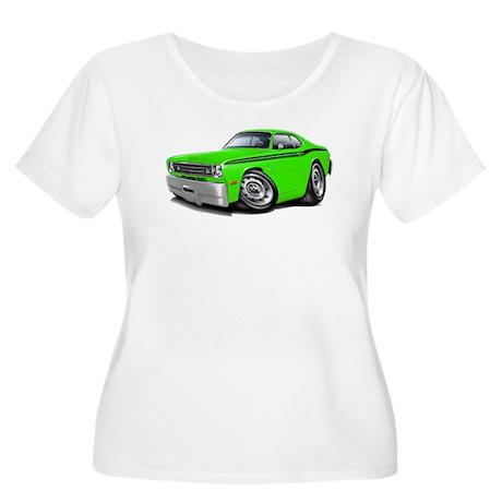 Duster Lime-Black Car Women's Plus Size Scoop Neck