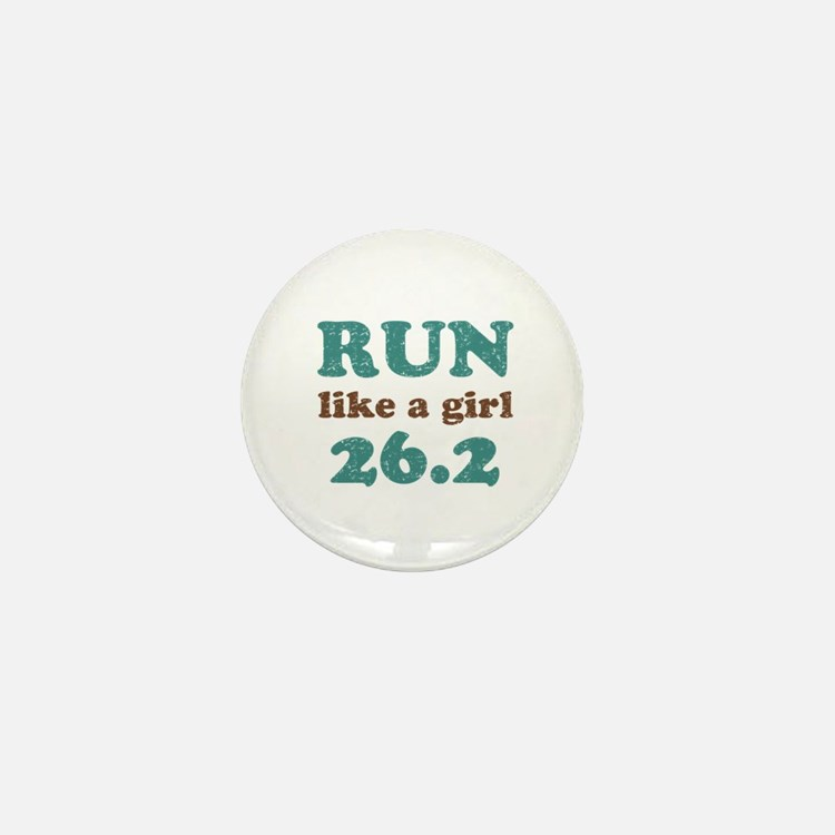 Run like a girl 26.2 Mini Button