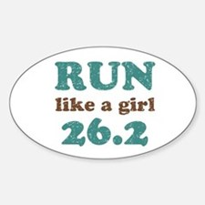 Run like a girl 26.2 Sticker (Oval)