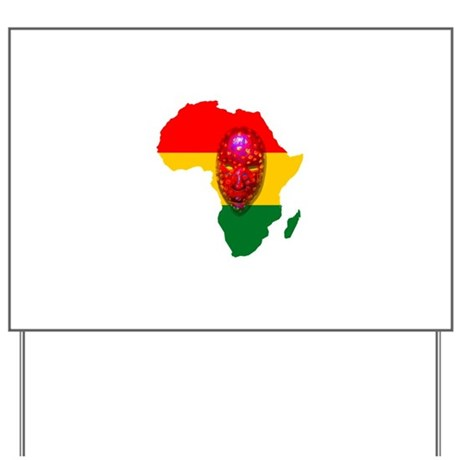 Africa with Mask Yard Sign