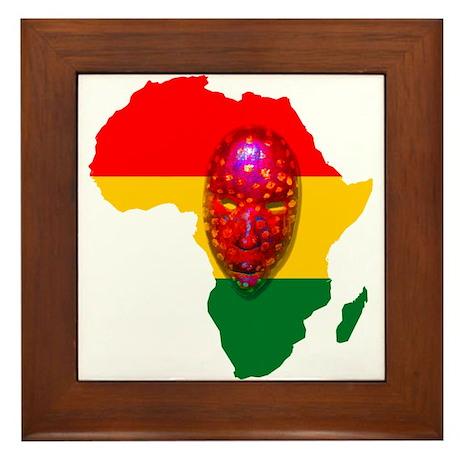 Africa with Mask Framed Tile