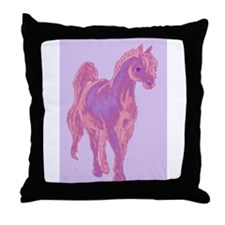 Funny Pink pony Throw Pillow