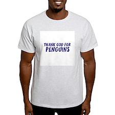 Thank God For Penguins Ash Grey T-Shirt