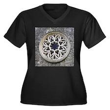 Stone Rose Window Women's Plus Size V-Neck Dark T-