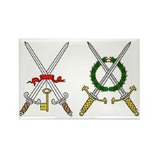 Double crossed medieval swords Rectangle Magnet