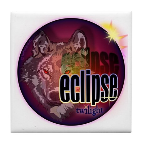 Eclipse Wolf Shadow by twibaby Tile Coaster