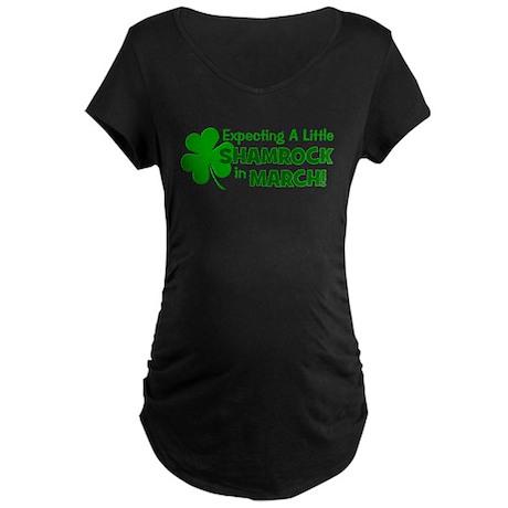 Little Shamrock March Maternity Dark T-Shirt
