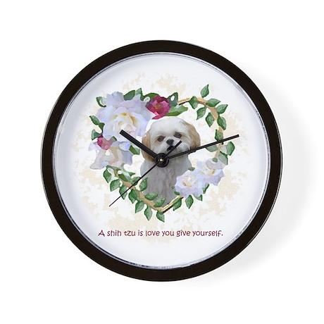 Shih Tzu Heart Love Lily Bell Wall Clock