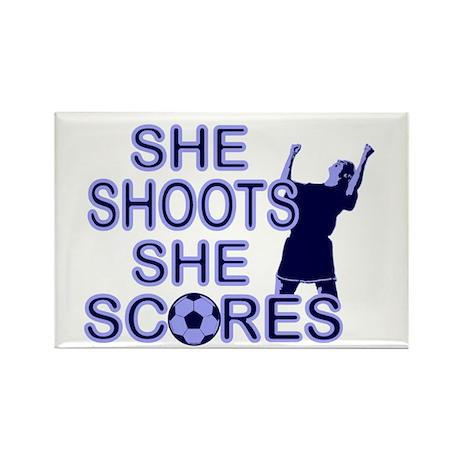 She shoots girls soccer Rectangle Magnet (100 pack