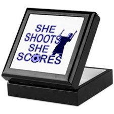 She shoots girls soccer Keepsake Box