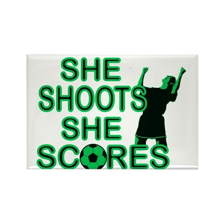 She Shoots ladies soccer Rectangle Magnet
