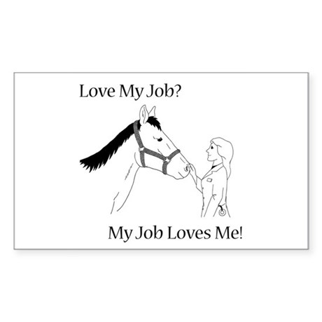Love My Job Equine Sticker (Rectangle)
