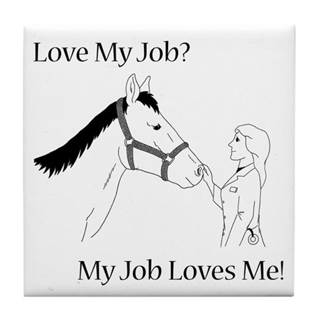 Love My Job Equine Tile Coaster