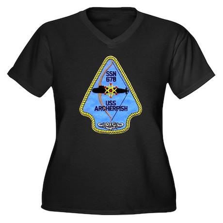 USS ARCHERFISH Women's Plus Size V-Neck Dark T-Shi