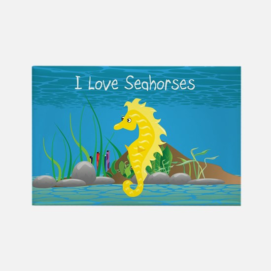 Yellow I Love Seahorses Rectangle Magnet