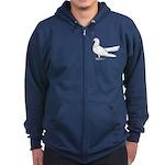 Flying Oriental Roller Pigeon Zip Hoodie (dark)