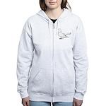 Flying Oriental Roller Pigeon Women's Zip Hoodie