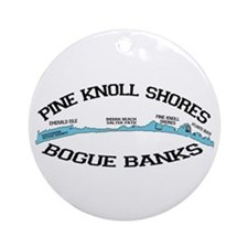 Pine Knoll Shores NC - Waves Design Ornament (Roun