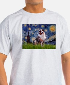 Starry Night & Australian Shepherd 1 Ash Grey Tee