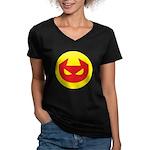 Simple Devil Icon Women's V-Neck Dark T-Shirt