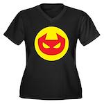 Simple Devil Icon Women's Plus Size V-Neck Dark T-