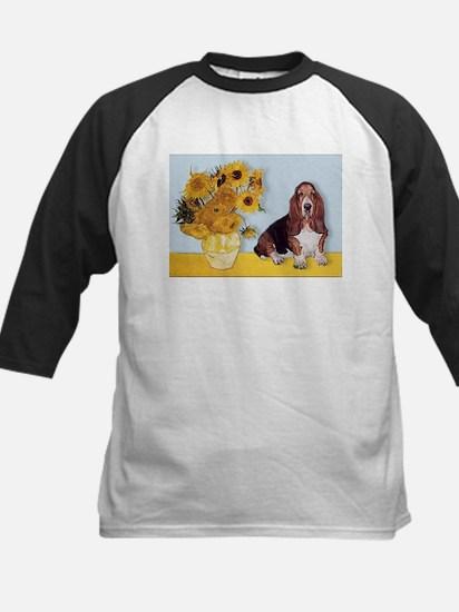 Sunflowers & Basset Kids Baseball Jersey