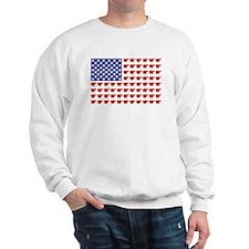 Polar Bear Patriotic Flag Print Sweatshirt